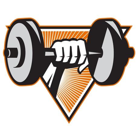 ilustracion: Ilustración de un levantamiento de pesas entrenamiento con pesas de mano situada en el interior del triángulo hecho en estilo retro.