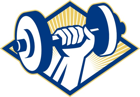 hand with dumbbell: Illustration of a hand lifting dumbbell weight training set inside diamond done in retro style. Illustration