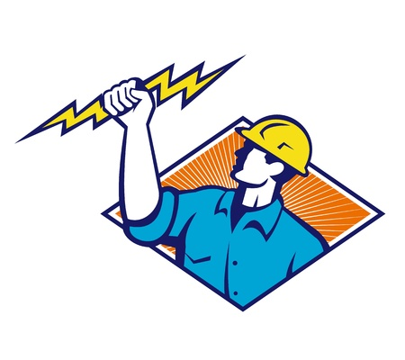 Illustration of an electrician construction worker holding a lightning bolt set inside diamond shape done in retro style in isolated white background. Vector