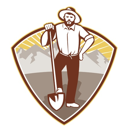 prospector: illustration of a gold digger miner prospector with shovel spade done in retro style set inside shield with mountains in background. Illustration