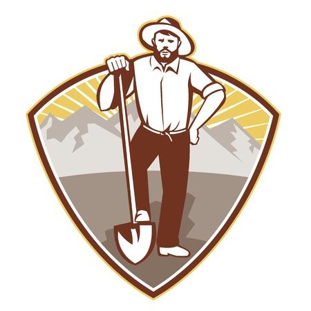 prospector: ilustración de un buscador de oro prospector minero con pala pala realizada en conjunto estilo retro dentro del escudo con las montañas de fondo. Vectores