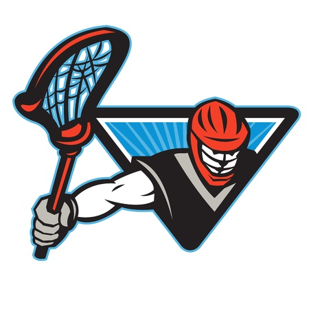 crosse: Illustration of a lacrosse player holding a crosse or lacrosse stick viewed from front set inside triangle.