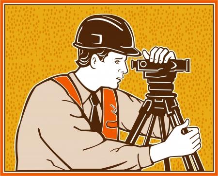 geodetic: Illustration of a surveyor geodetic engineer with instrument surveying retro style  Illustration