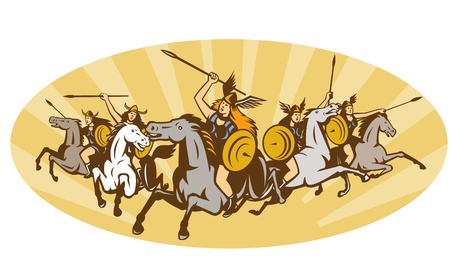 norse: Illustration of valkyrie of Norse mythology female rider warriors riding horse with spear set inside oval with sunburst done in retro style