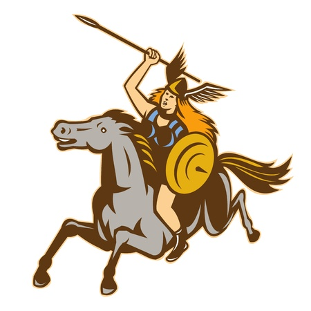 stead: Illustration of valkyrie of Norse mythology female rider warriors riding horse with spear done in retro style