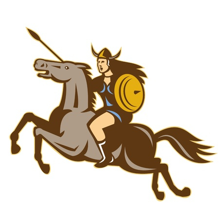 norse: Illustration of valkyrie of Norse mythology female rider warriors riding horse with spear done in retro style