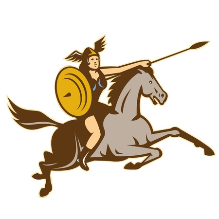 horse warrior: Illustration of valkyrie of Norse mythology female rider warriors riding horse with spear done in retro style