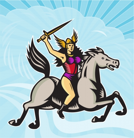 valkyrie: Illustration of valkyrie of Norse mythology female rider warriors riding horse with spear done in retro style