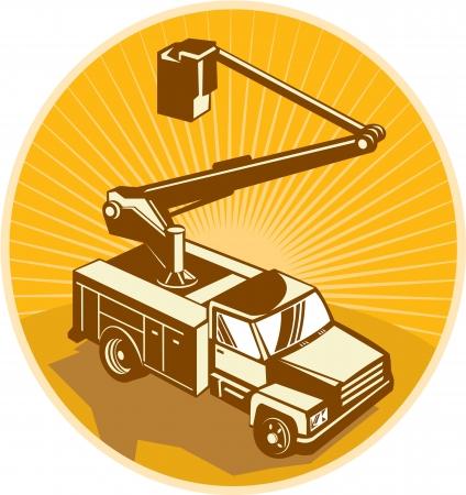 アクセス クレーン装置バケット トラック桜のピッカー ピックアップ ・ トラックのレトロなスタイルで行われる高角度から見た図。  イラスト・ベクター素材
