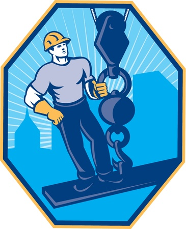 hoisting: Illustration of construction worker riding on i-beam girder with ball hook done in retro style set inside hexagon Illustration