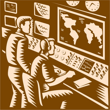 panel: Illustration of a command center control room communications headquarter with two operators working in front of world map done in retro woodcut style. Illustration