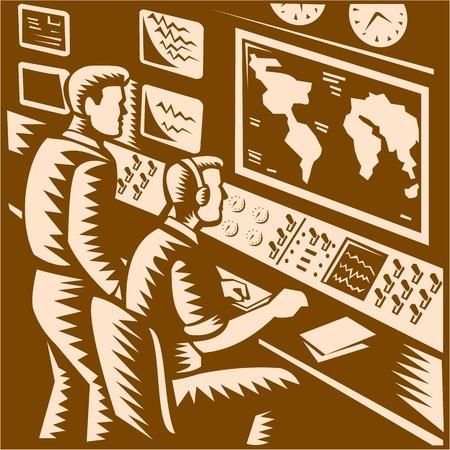 tablero de control: Ilustraci�n de un centro de comando de control de comunicaciones de la sede de las habitaciones con dos operadores que trabajan en frente de mapa del mundo hecho en estilo retro grabado en madera.
