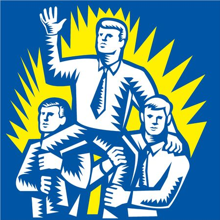 Illustration of a businessman being prop up on shoulders of fellow workers colleague facing front done in retro woodcut style. Stock Vector - 20996266