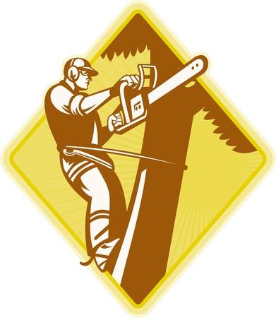 Illustration der Holzfäller Baumpfleger Baum Chirurg mit einer Kettensäge auf weißem Hintergrund. Illustration