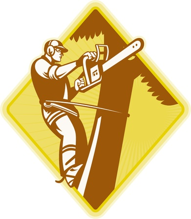 Illustration of lumberjack arborist tree surgeon holding a chainsaw on isolated white background. Vector