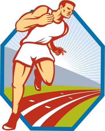 atleta corriendo: Ilustraci�n de un corredor de marat�n Atleta corriendo en pista realizada en conjunto de estilo retro en el interior del hex�gono.