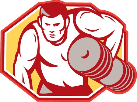 Illustration of a weightlifter lifting weights pumping iron set inside hexagon done in retro style