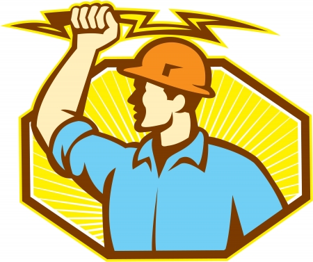 Illustration of an electrician wielding holding a lightning bolt facing side done in retro style in isolated white background  Иллюстрация