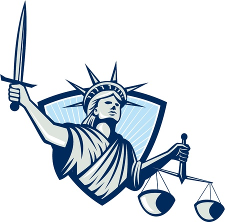lady justice: Illustration of lady statue of liberty facing front holding weighing scales of justice and sword set inside crest shield on isolated white background  Illustration