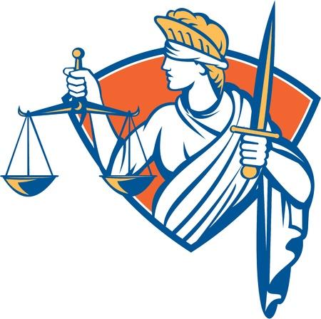 balanza de justicia: Ilustración de la mujer con los ojos vendados frente a lado la celebración de balanzas de la justicia y puso la espada en el interior de la cresta escudo sobre fondo blanco aislado