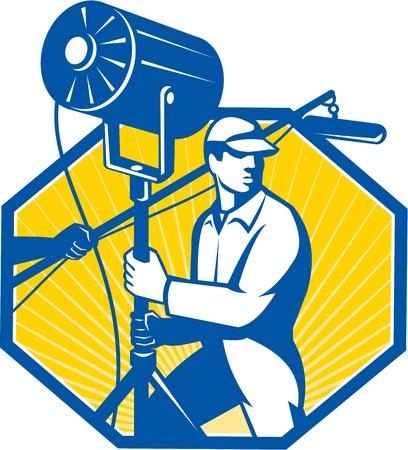 lighting technician: Illustration of a electrical lighting technician crew with fresnel spotlight and sound boom microphone set inside hexagon done in retro style