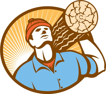 logger: Illustration of a logger forester lumberjack carrying a log of wood facing front set inside oval done on retro style