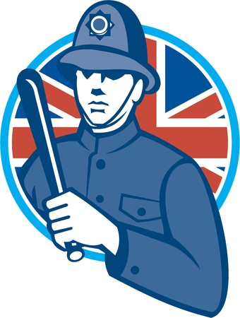 nightstick: Illustration of a British London bobby police officer policeman man wielding truncheon or baton also called cosh, billystick, billy club, nightstick, sap, stick set inside circle with Union Jack flag in background retro style