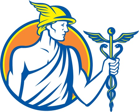 Illustration of Roman god Mercury patron god of financial gain, commerce, communication and travelers wearing winged hat and holding caduceus a herald Vector