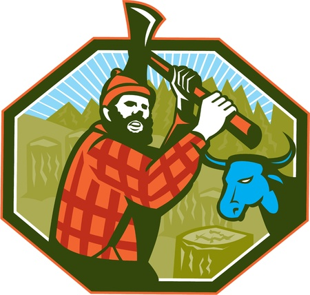 sawyer: Illustration of Paul Bunyan a lumberjack sawyer forest worker swinging an axe with tree stumps and Babe the blue ox bull cow in background set inside hexagon done in retro style Illustration