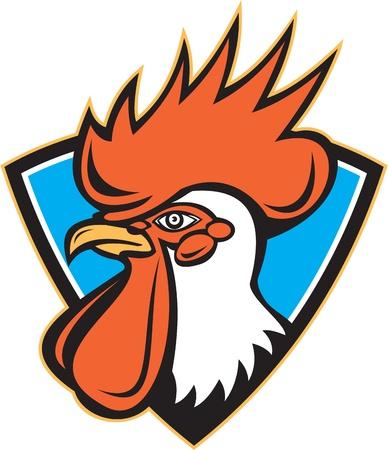 cockerel: Illustrazione di un gallo galletto testa rivolta di lato all'interno di un ovale fatto in stile retr� Vettoriali