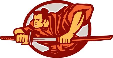 スタンス セット レトロなスタイルの楕円形内の戦いで刀を描くサムライ戦士のイラスト  イラスト・ベクター素材