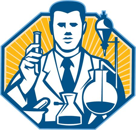 researcher: Illustration of scientist laboratory researcher chemist holding test tube flask done in retro style