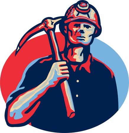 bauarbeiterhelm: Illustration eines Bergarbeiter tragen Helm mit Hacke nach vorne Set innerhalb Oval in retro-Stil getan.