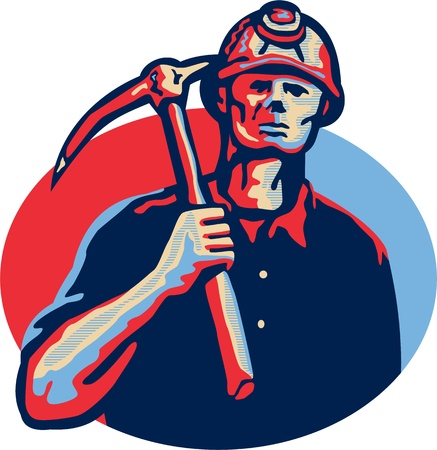 coal: Illustration of a coal miner wearing hardhat with pick axe facing front set inside oval done in retro style.