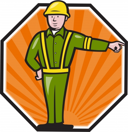 emergency vest: Illustration of an emergency worker wearing hardhat and high visibility vest pointing to side set inside octagon done in cartoon style.