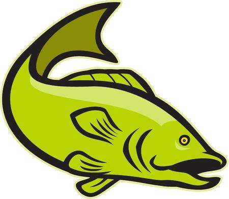 largemouth bass: Ilustraci�n de un bajo de peces saltando bocazas hecho en estilo de dibujos animados sobre fondo blanco.