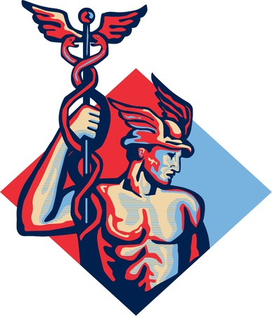 Illustration of Roman god Mercury patron god of financial gain,commerce, communication and travelers wearing winged hat and holding caduceus a herald's staff with two entwined snakes set inside diamond shape retro style.