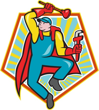Illustration of a superhero super plumber jumping with cape holding monkey wrench and plunger done in cartoon style with pentagon shape in background. Stock Vector - 21426215
