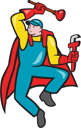Illustration of a superhero super plumber jumping with cape holding monkey wrench and plunger done in cartoon style on isolated background. Stock Vector - 21426216