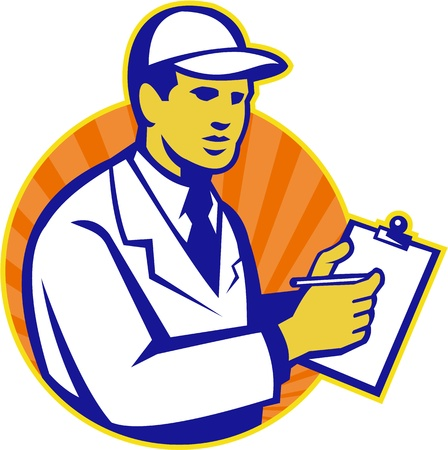 inspector: Illustration of a technician tradesman inspector worker at work writing on clipboard with pen set inside circle done in retro style. Illustration