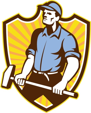 sledgehammer: Illustration of a union worker with sledgehammer hammer done in retro style set inside shield crest with sunburst on isolated white background. Illustration