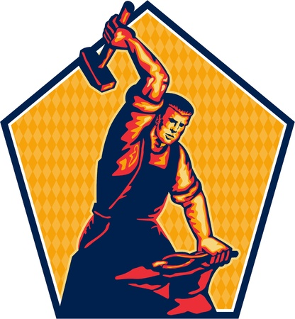 tradesman: Illustration of a blacksmith worker with sledgehammer striking at anvil done in retro style.