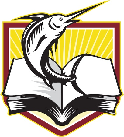 blue marlin: Illustration of a blue marlin fish jumping over book textbook set inside crest shield done in retro style. Illustration