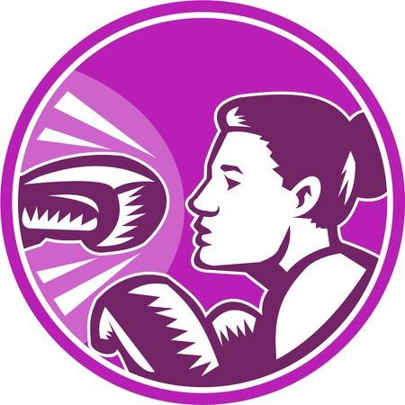 dodge: Illustration of a female woman boxer about to dodge a knockout punch set inside circle done in retro woodcut style.