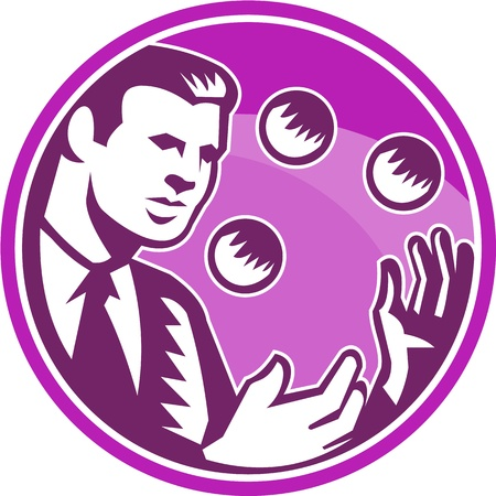 Illustration of a businessman juggler juggling balls viewed from front set inside circle done in retro wooduct style. Vector