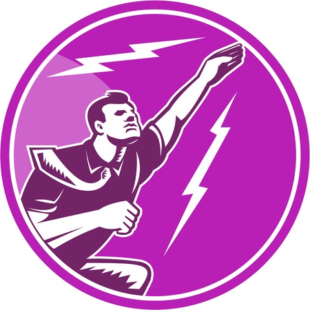 lightning bolt: Illustration of a businessman rebounding jumping fyling up viewed from side with lightning bolt set inside circle done in retro wooduct style.