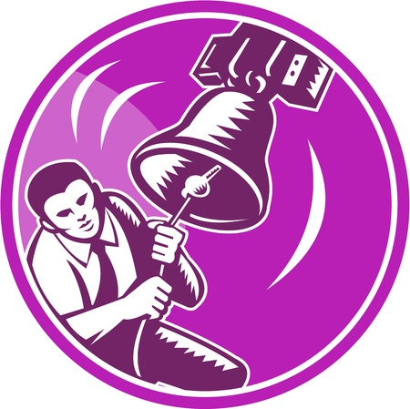 Illustration of a businessman ringer ringing liberty bell viewed from front set inside circle done in retro wooduct style. Vector