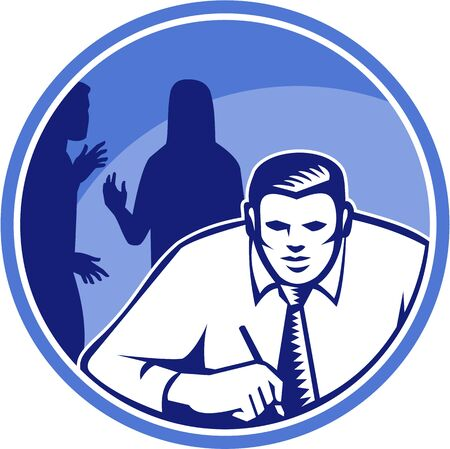 Illustration of a businessman office worker facing front writing on desk table with  silhouette of colleagues in background done in retro woodcut style set inside circle. Stock Vector - 21426241