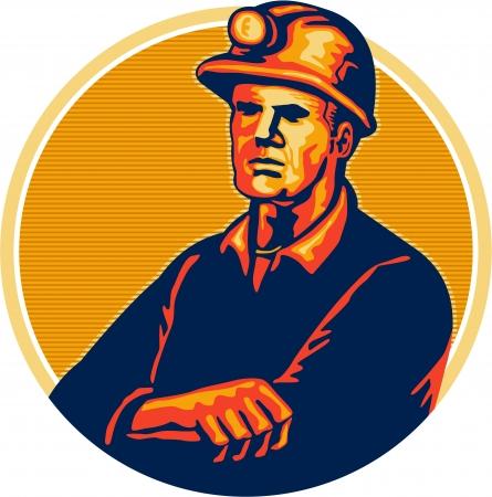 Illustratie van een mijnwerker dragen helm armen over elkaar naar de voorkant set binnen cirkel gedaan in retro stijl