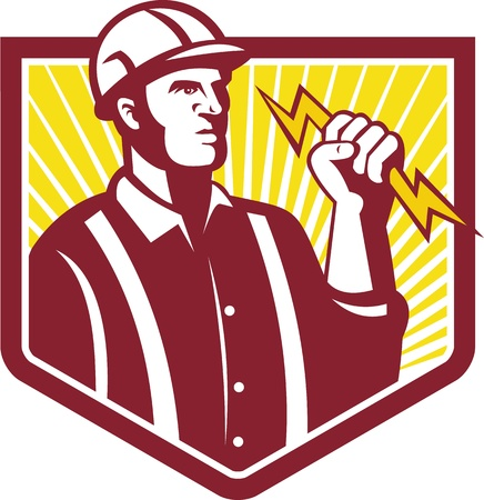 Illustration of an electrician wielding holding a lightning bolt facing side done in retro style in isolated white background Stock Vector - 21426246